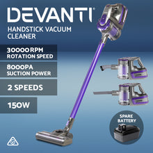 Load image into Gallery viewer, Devanti Handheld Vacuum Cleaner Cordless Stick Handstick Vac 2-Speed 150W with Spare Battery Purple,Appliances > Vacuum Cleaners - Yochi Tech