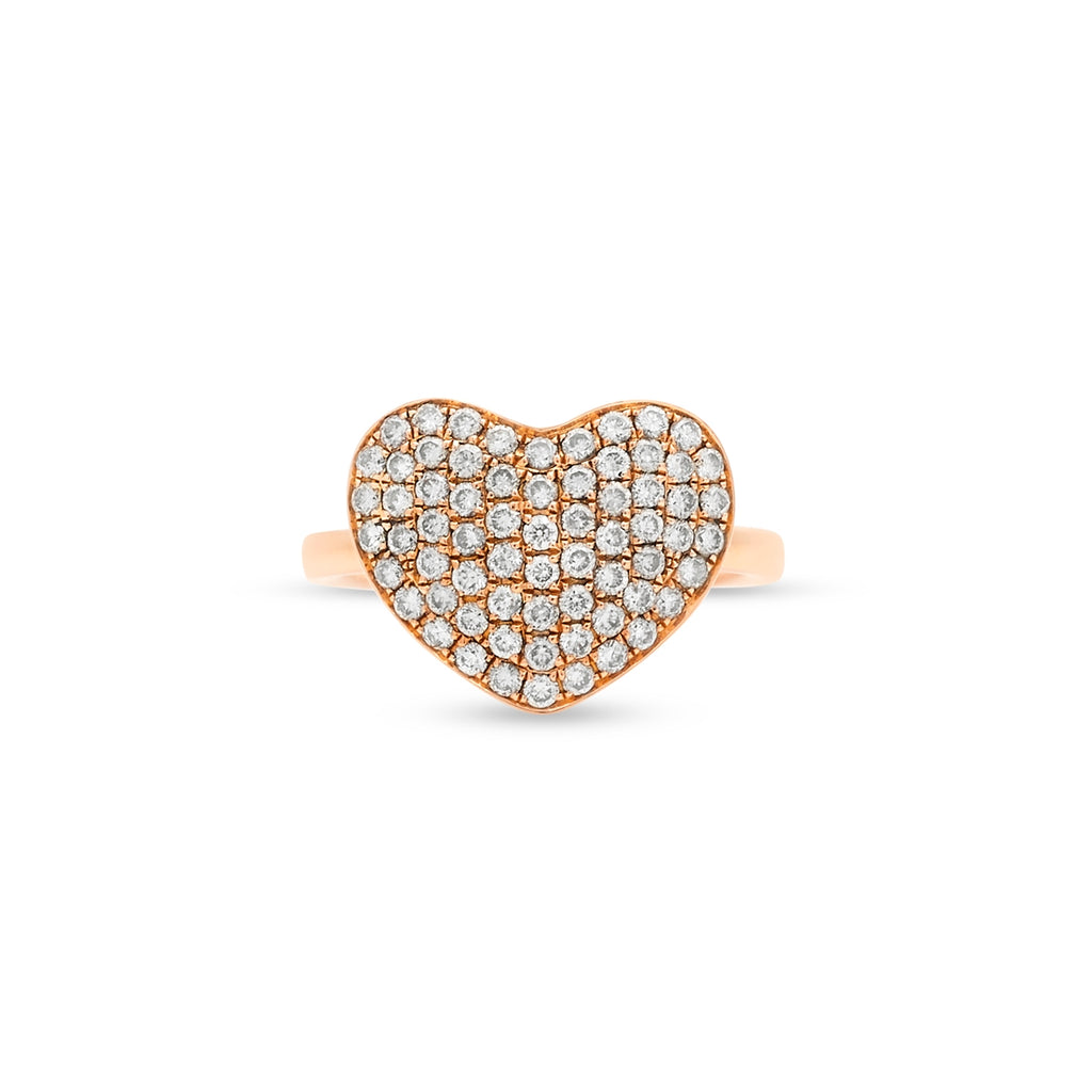 Pave Heart Pinky Ring