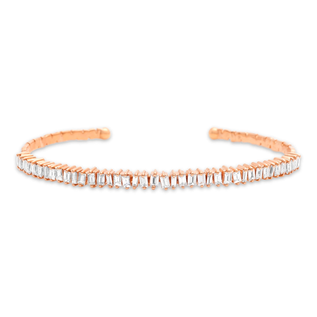 Rose Gold Jagged Edge Diamond Cuff
