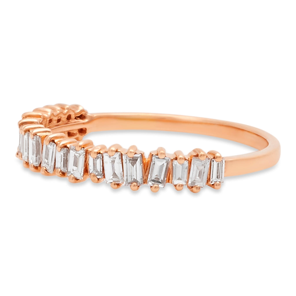 Rose Gold Jagged Edge Half Eternity Ring