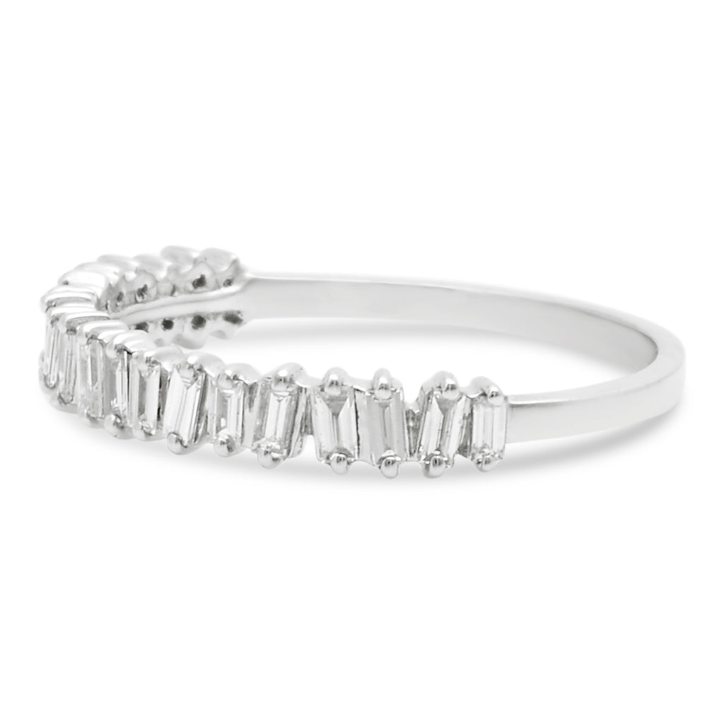 White Gold Jagged Edge Half Eternity Ring