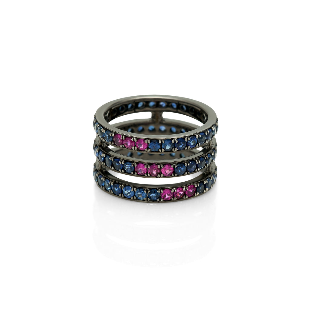 Black Rhodium Gemstone Cage Ring
