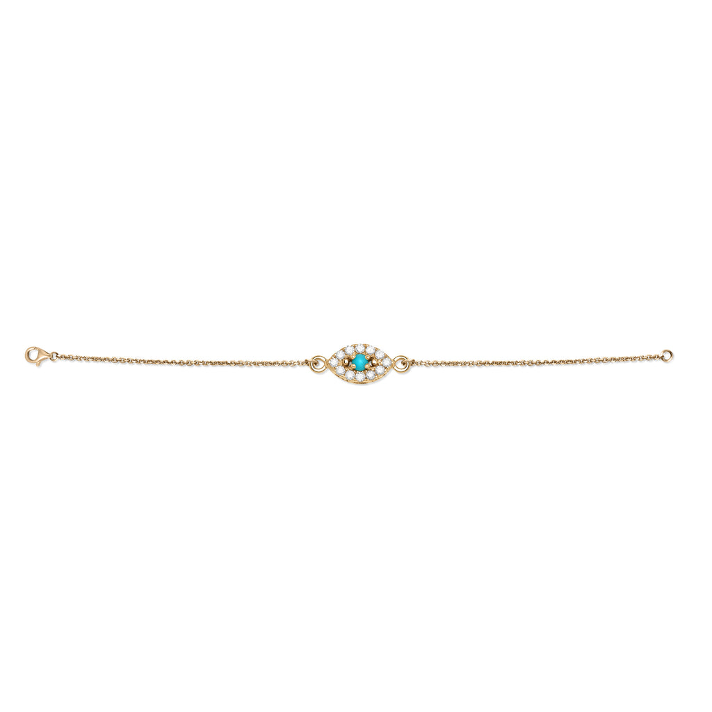 Rose Gold Diamond and Turquoise Evil Eye Bracelet