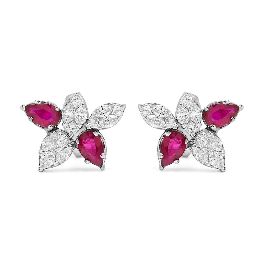 Ruby and Diamond Cinq Cluster Earrings