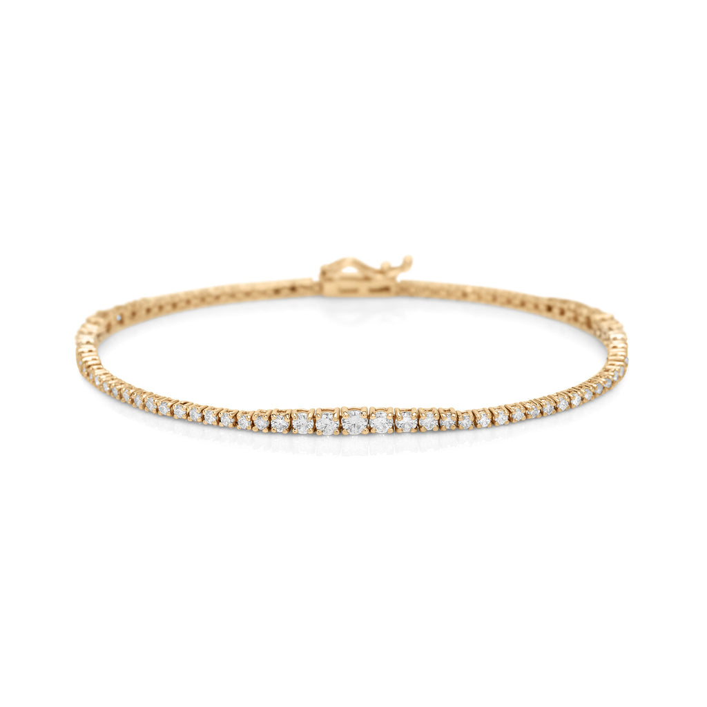 Yellow Gold Trio Diamond Tennis Bracelet