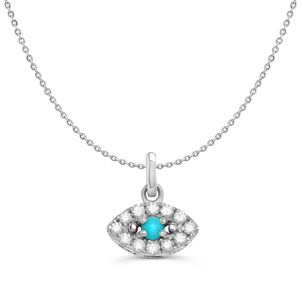 White Gold Diamond and Turquoise Evil Eye Necklace
