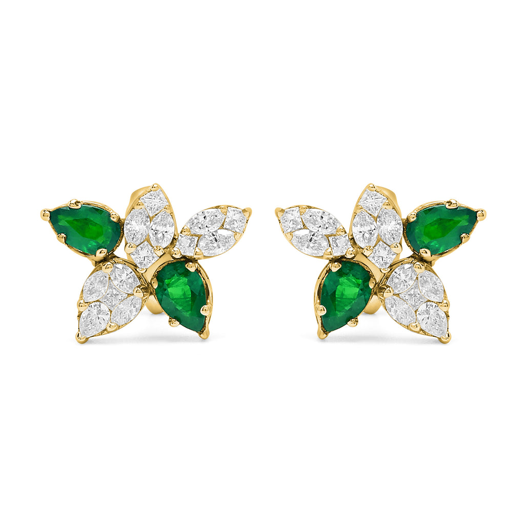 Emerald and Diamond Cinq Cluster Earrings