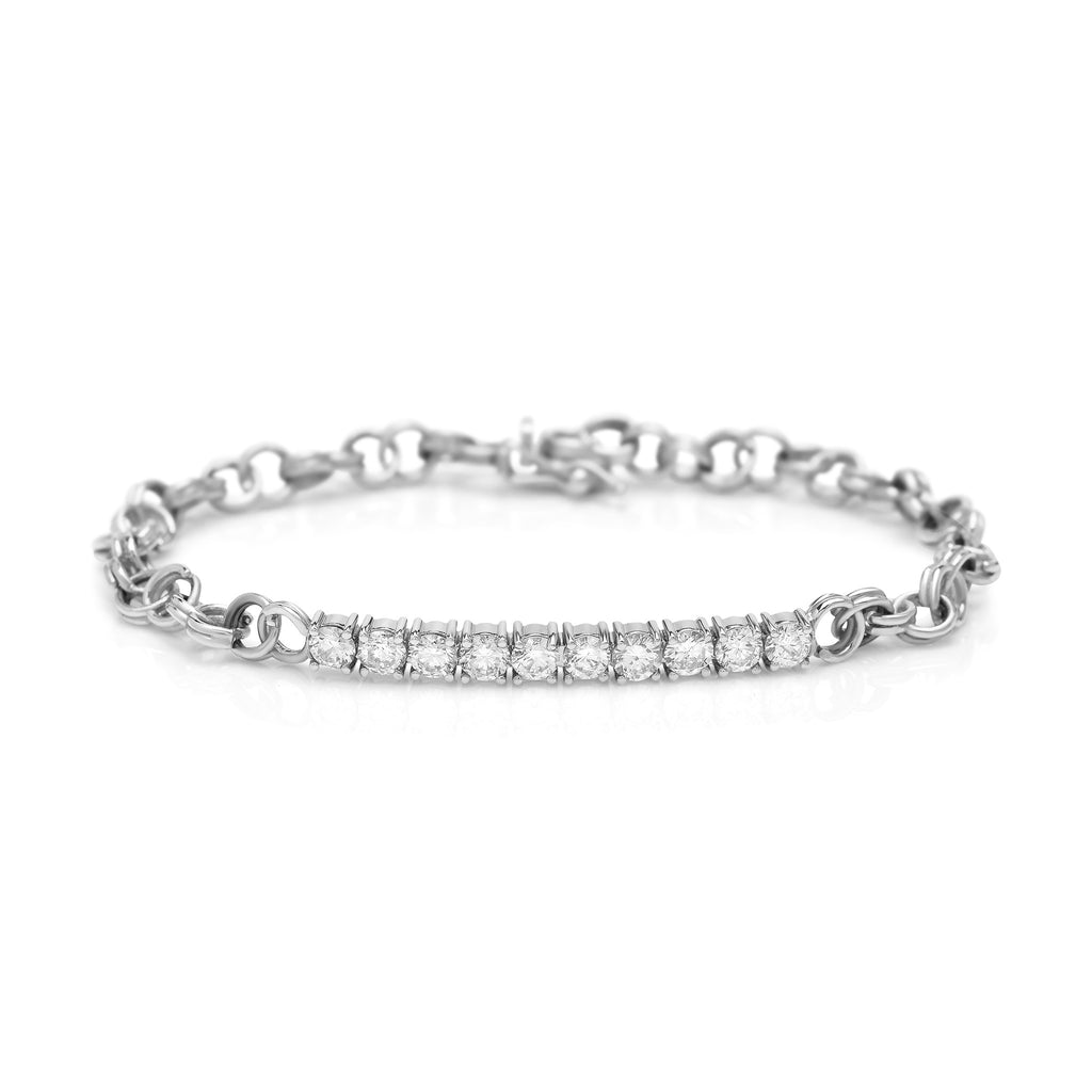 White Gold Cirque Diamond Chainlink Bracelet