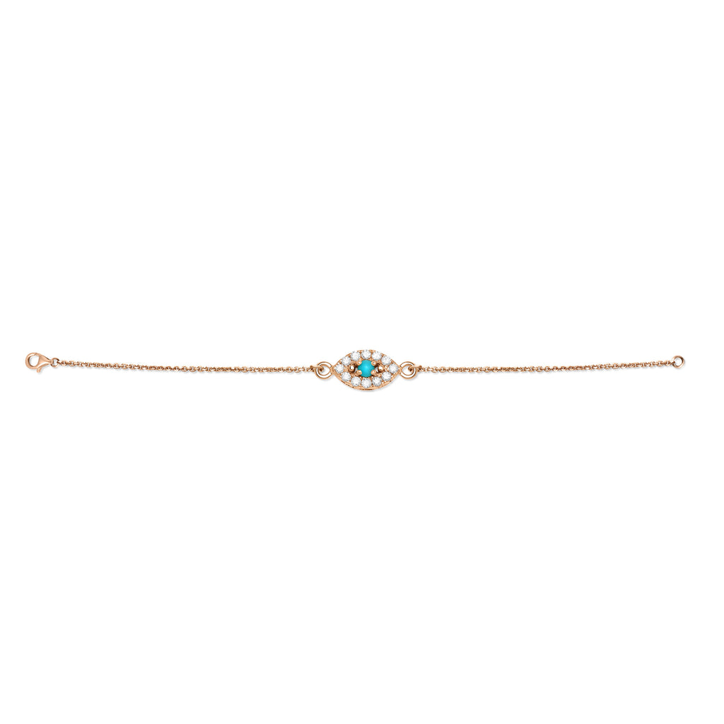 Yellow Gold Diamond and Turquoise Evil Eye Bracelet