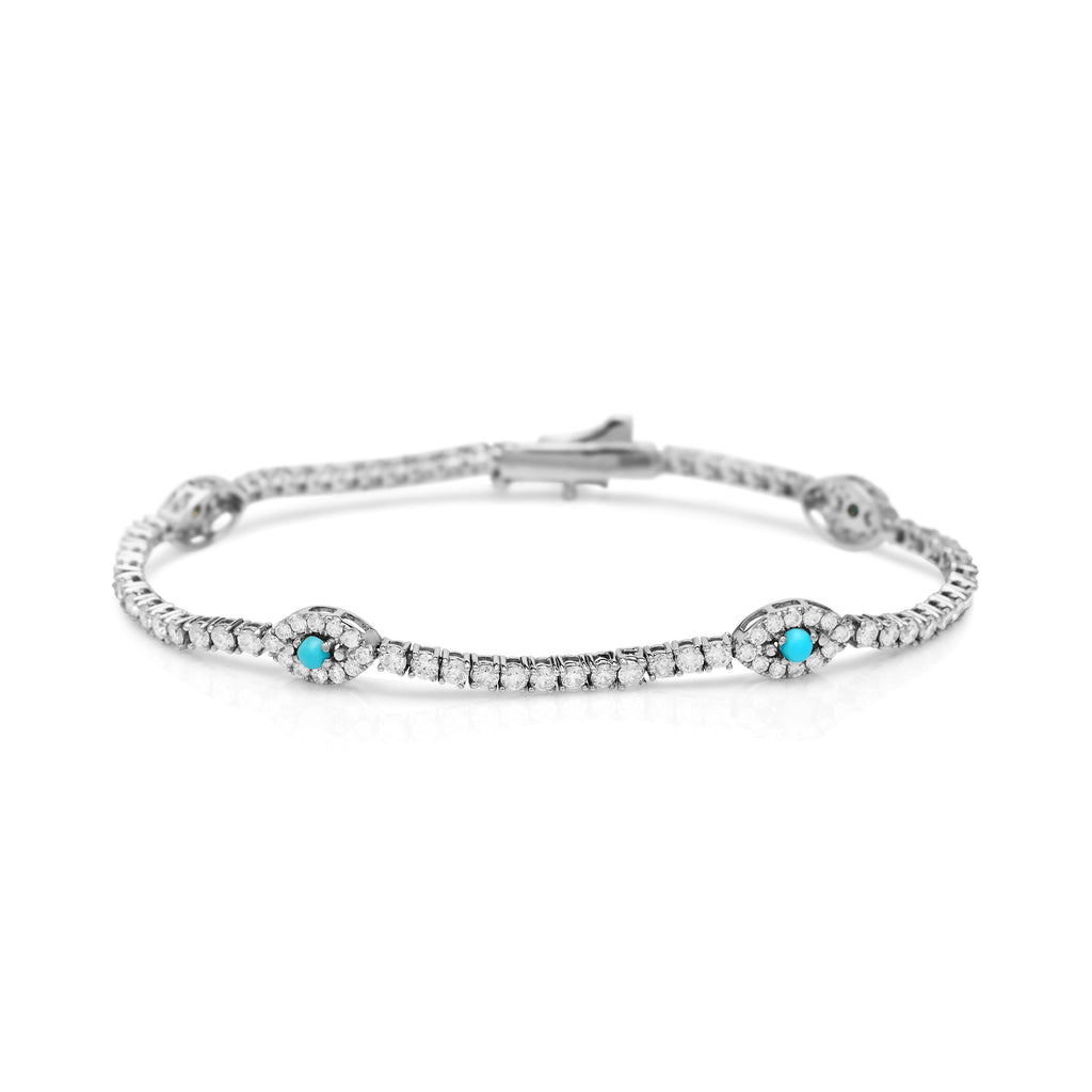 White Gold Diamond and Turquoise Evil Eye Tennis Bracelet