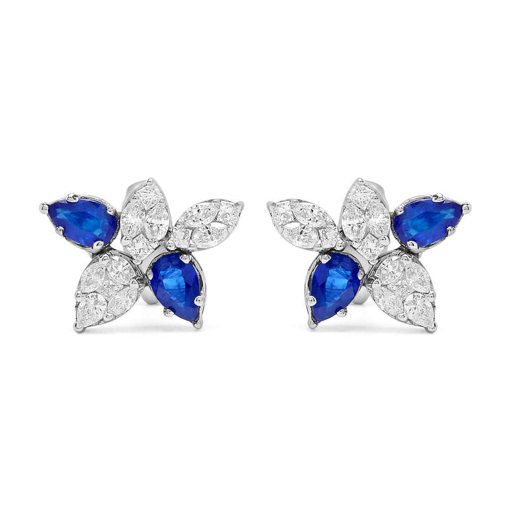 Sapphire and Diamond Cinq Cluster Earrings