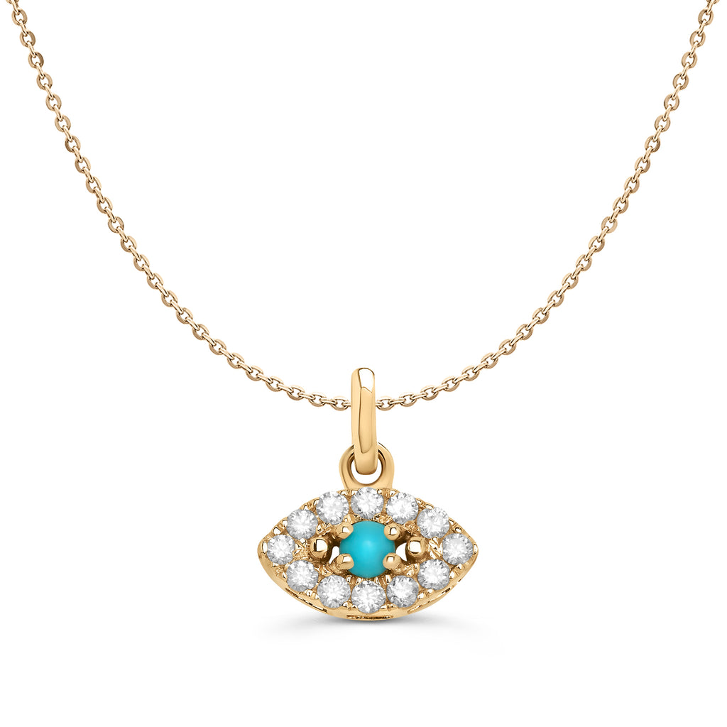 Yellow Gold Diamond and Turquoise Evil Eye Necklace