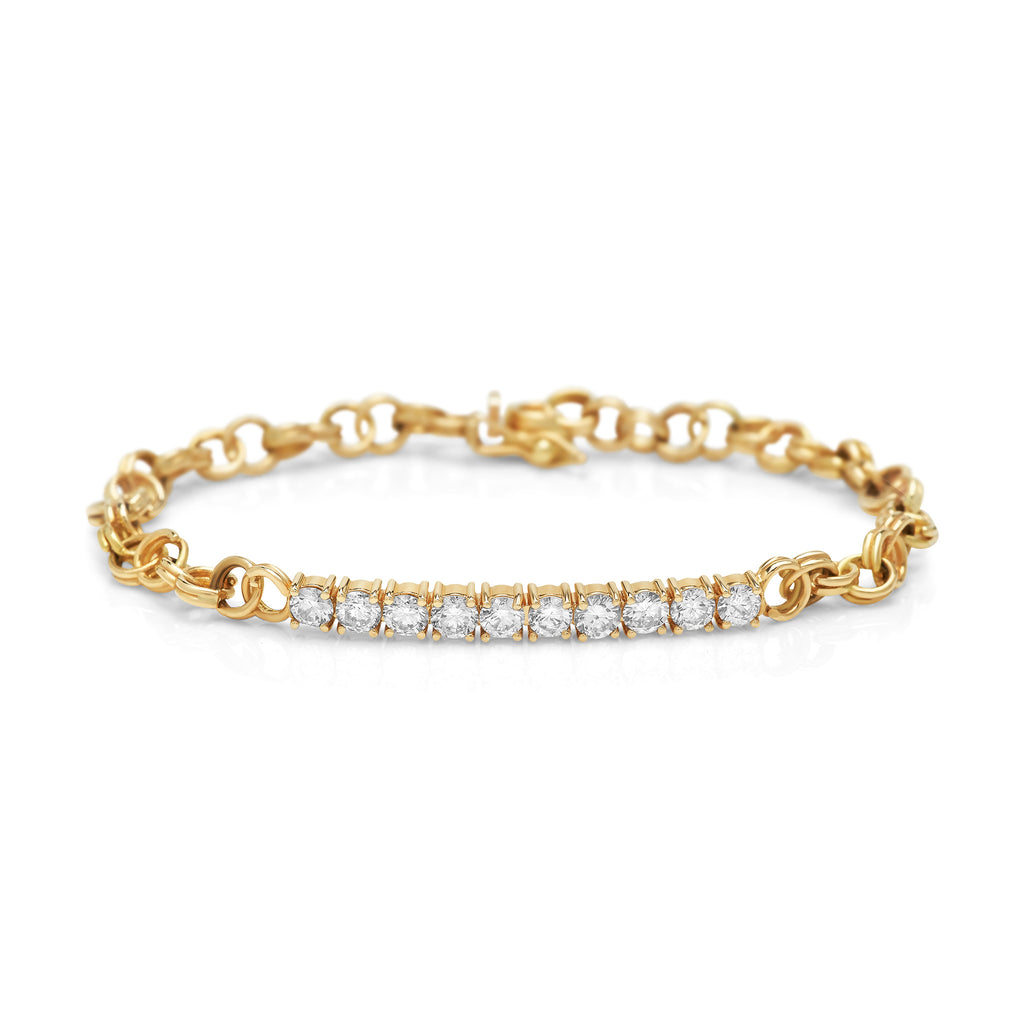 Yellow Gold Cirque Diamond Chainlink Bracelet