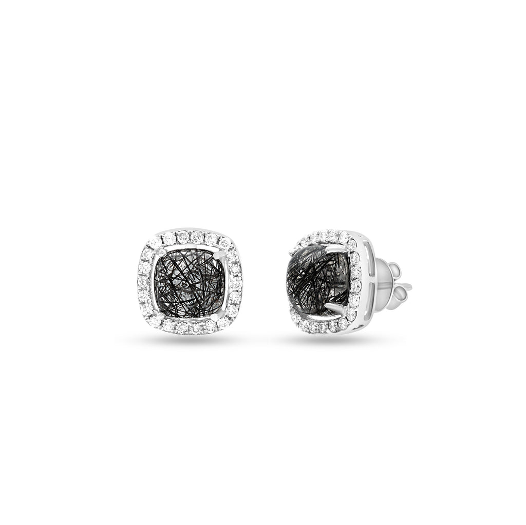 Black Rutilated Quartz Cushion Cut Earrings