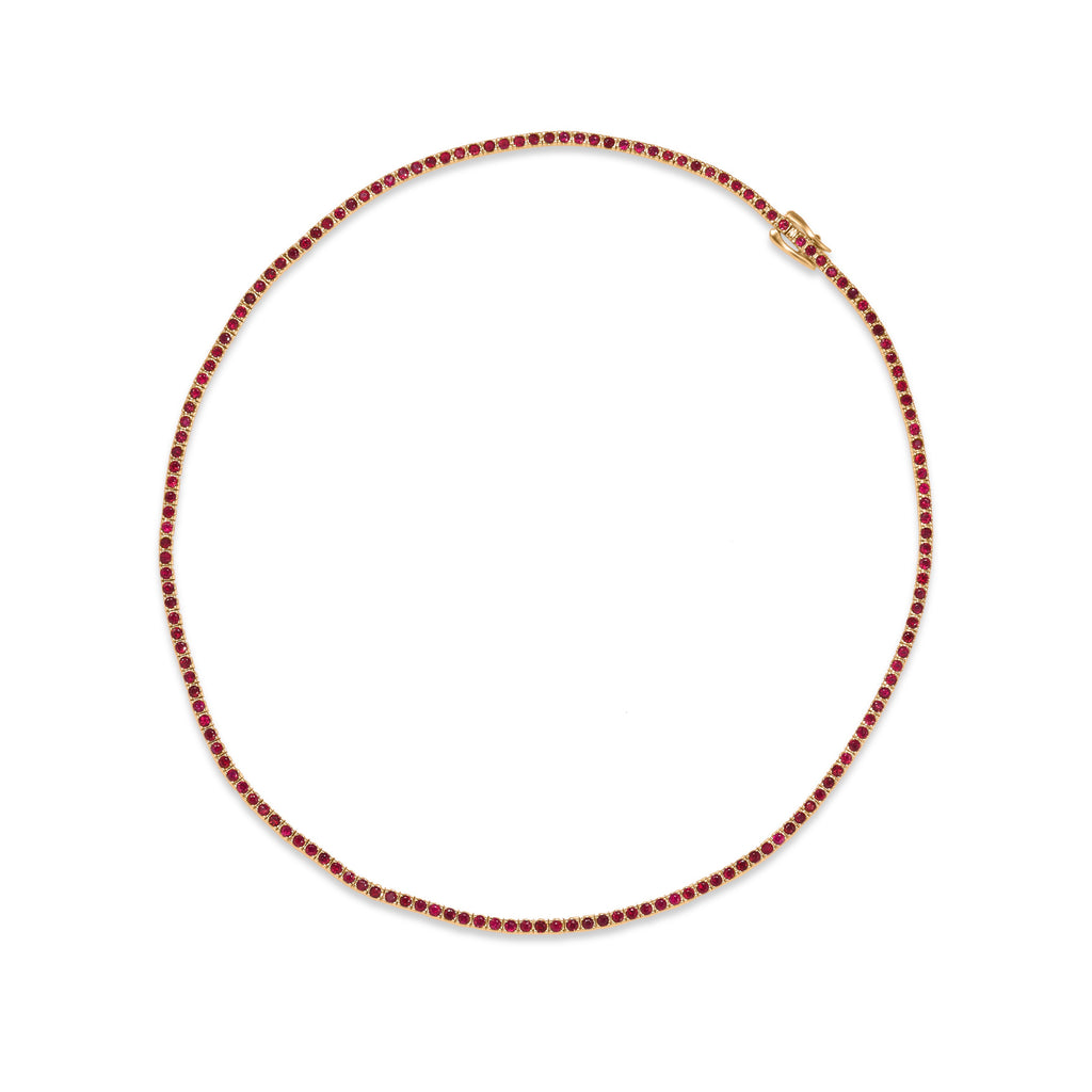 Ruby Tennis Necklace 16""