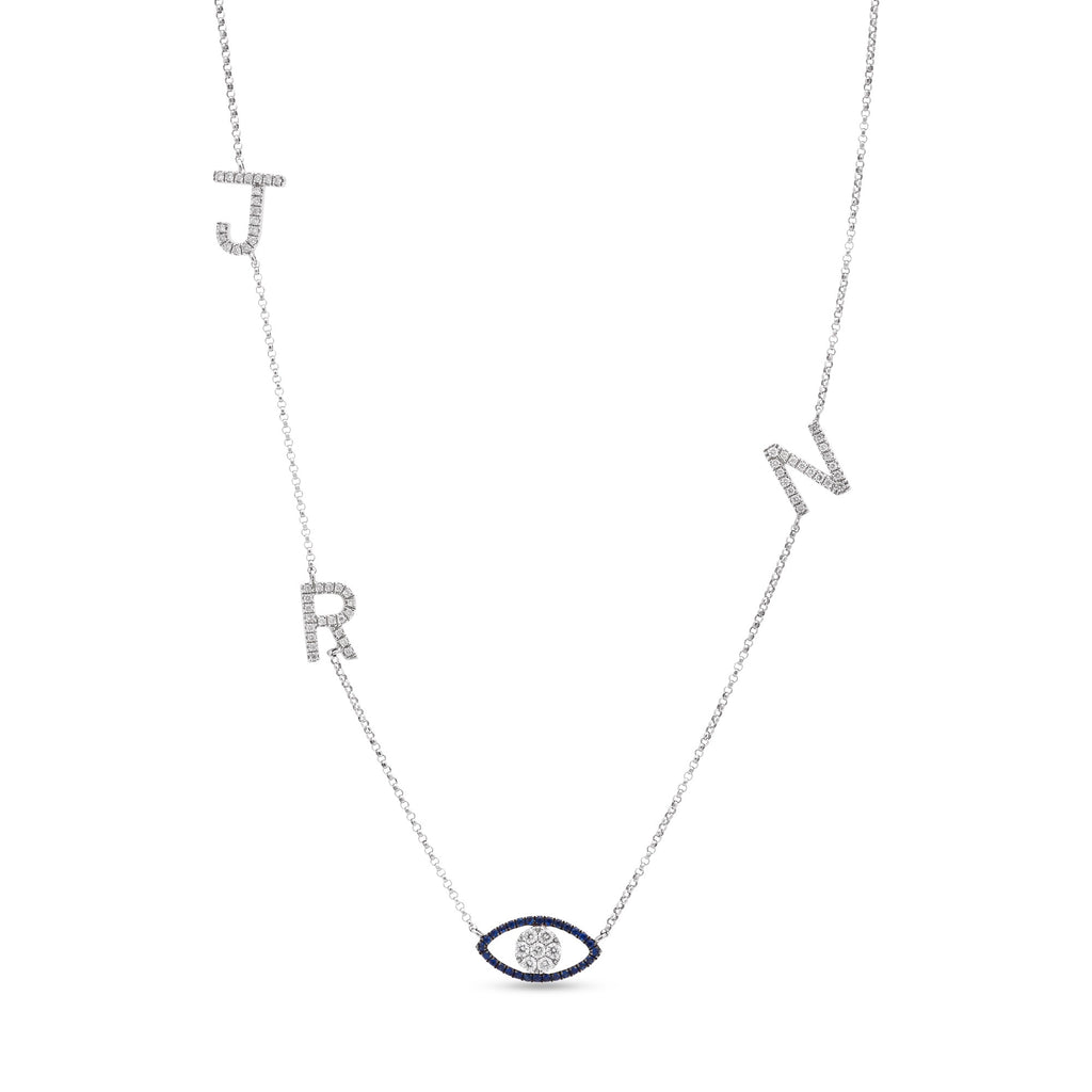 Initials and Evil Eye Necklace