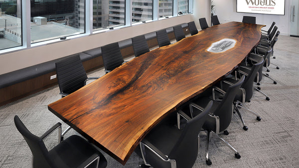 Claro walnut live edge slab custom conference table by CS Woods.