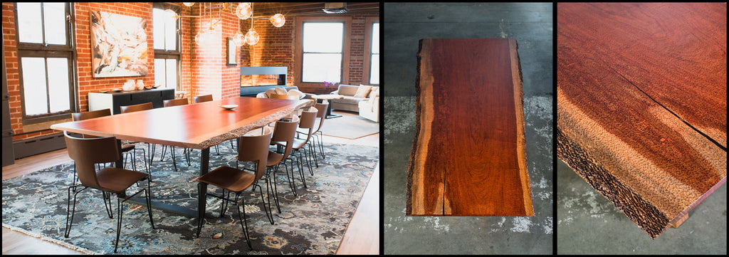 Bubinga Live Edge Table and Bubinga slab and grain photos