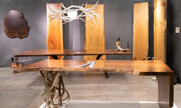 Western Design Conference in Jackson Hole - Claro walnut live edge desk and Claro Walnut table with live edge environmental art