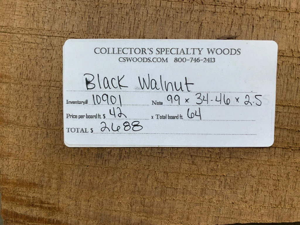"Black Walnut Slab #10901 (99"" x 34"" - 46"" x 2.5"")"