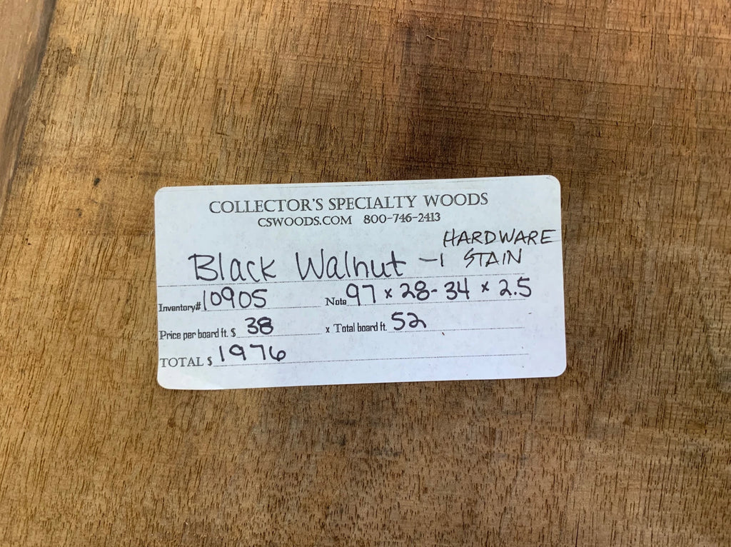 "Black Walnut Slab #10905 (97"" x 28"" - 34"" x 2.5"")"