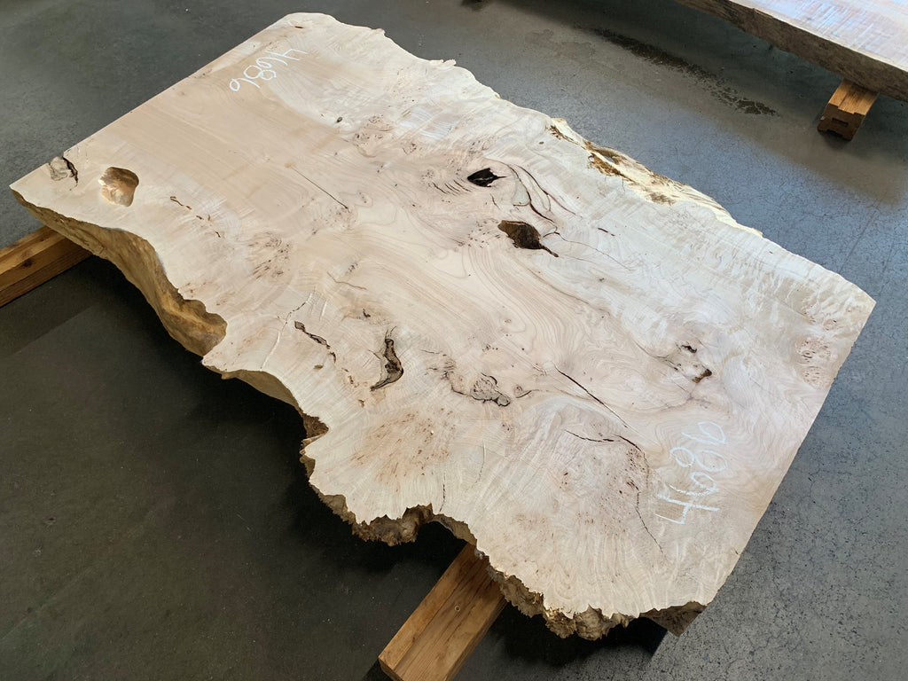 "Burled Big Leaf Maple  (57.75"" x 33""- 36"" x 3"")"