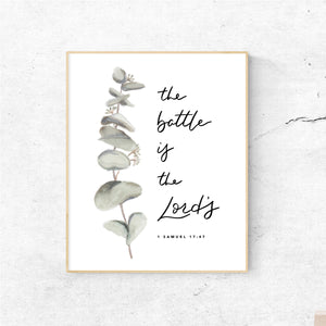 WATERCOLOR PRINT || 1 Samuel 17:47 Lord's Battle Eucalyptus Painting