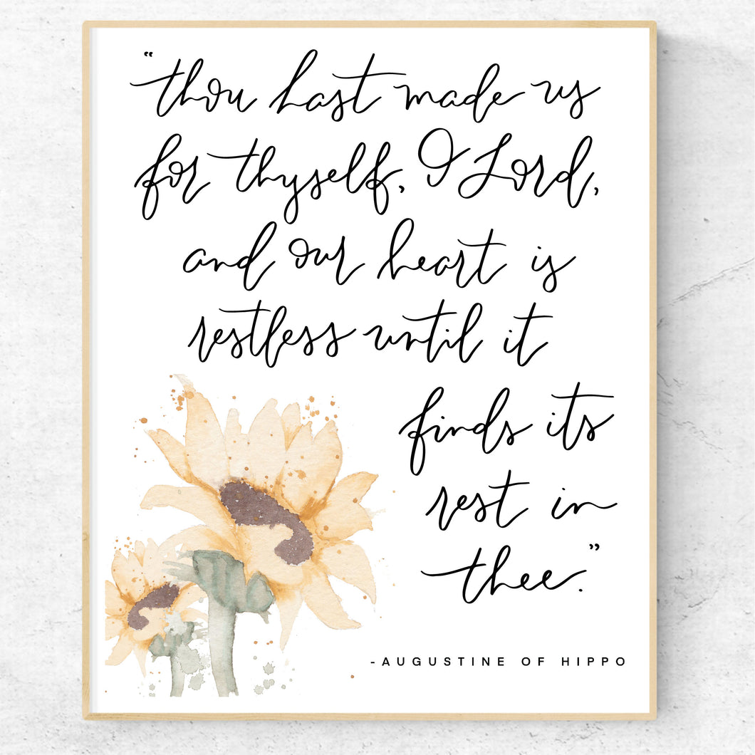 WATERCOLOR PRINT || Restless Heart Augustine of Hippo Quote