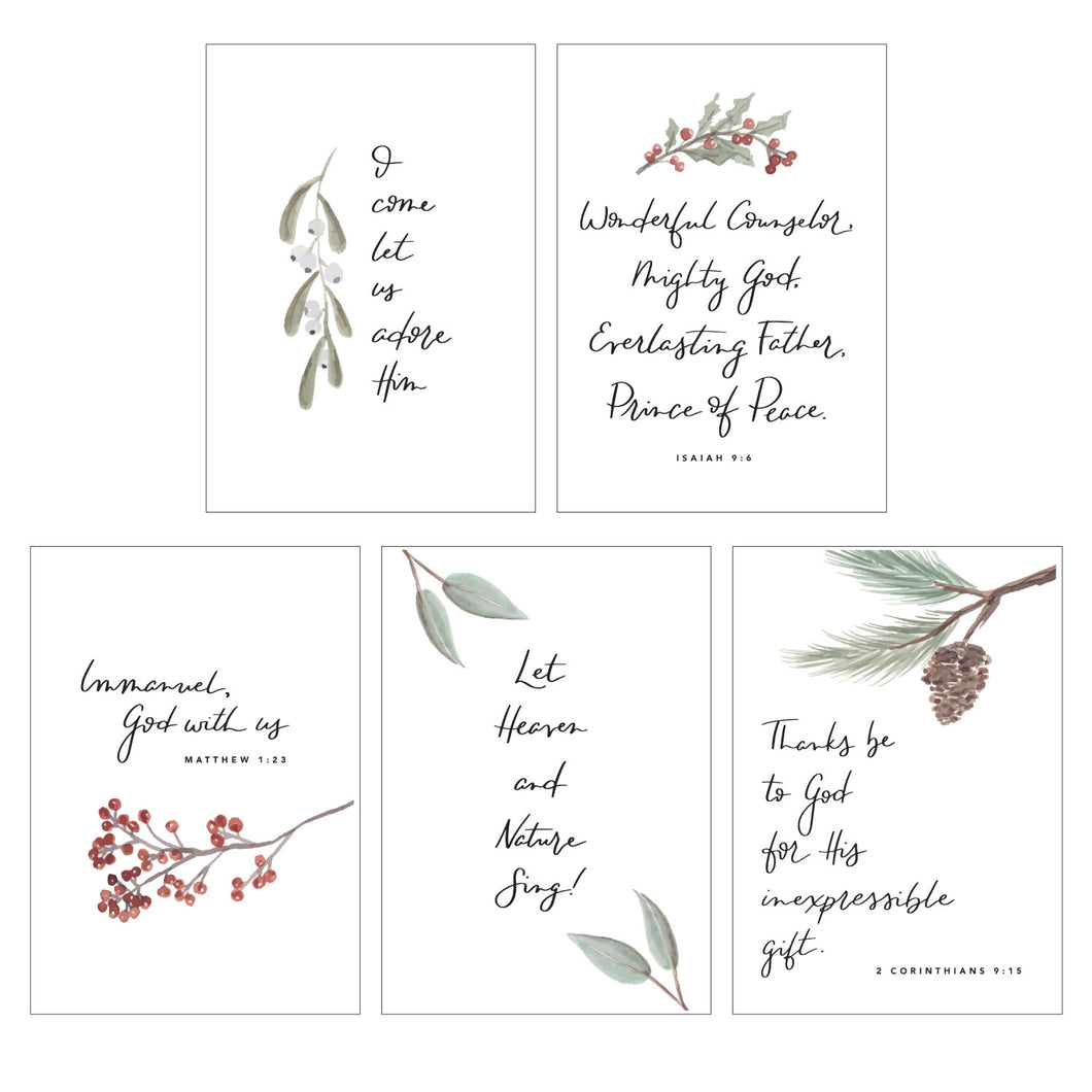 CHRISTMAS WATERCOLOR CARD PACK || Floral Watercolor Christmas Card Pack of 10