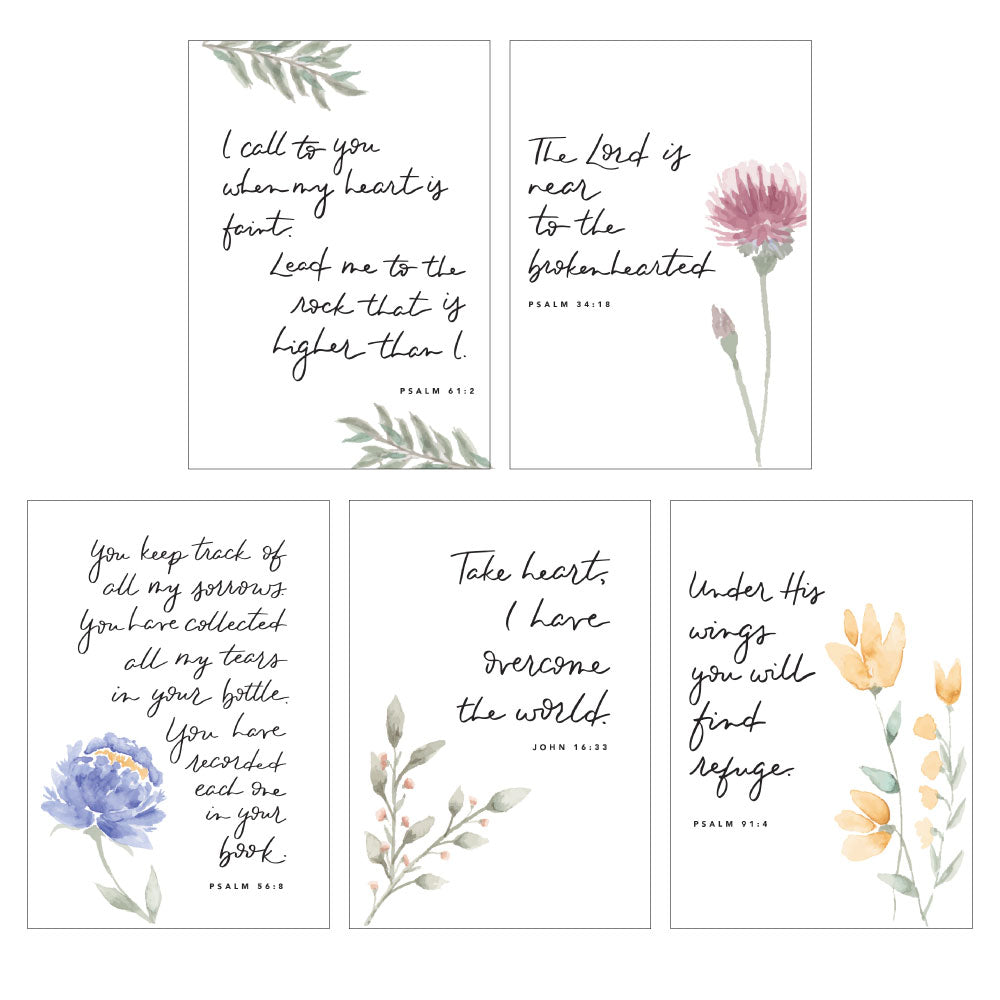 SYMPATHY WATERCOLOR CARD PACK || Floral Watercolor Sympathy Verse Card Pack of 10