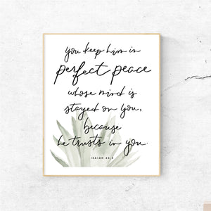 WATERCOLOR PRINT || Isaiah 26:3 Perfect Peace Aloe Painting