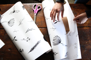 CHRISTMAS GIFT WRAP ROLL || Hand-drawn Christmas Floral Wrapping Paper Roll