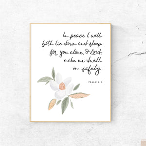 WATERCOLOR PRINT || Psalm 4:8 Dwell in Safety Magnolia Painting
