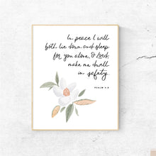 Load image into Gallery viewer, DIGITAL PRINT || Psalm 4:8 Dwell in Safety Magnolia Painting
