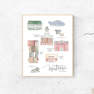 MONTROSE PENNSYLVANIA || Handpainted Watercolor Map Print