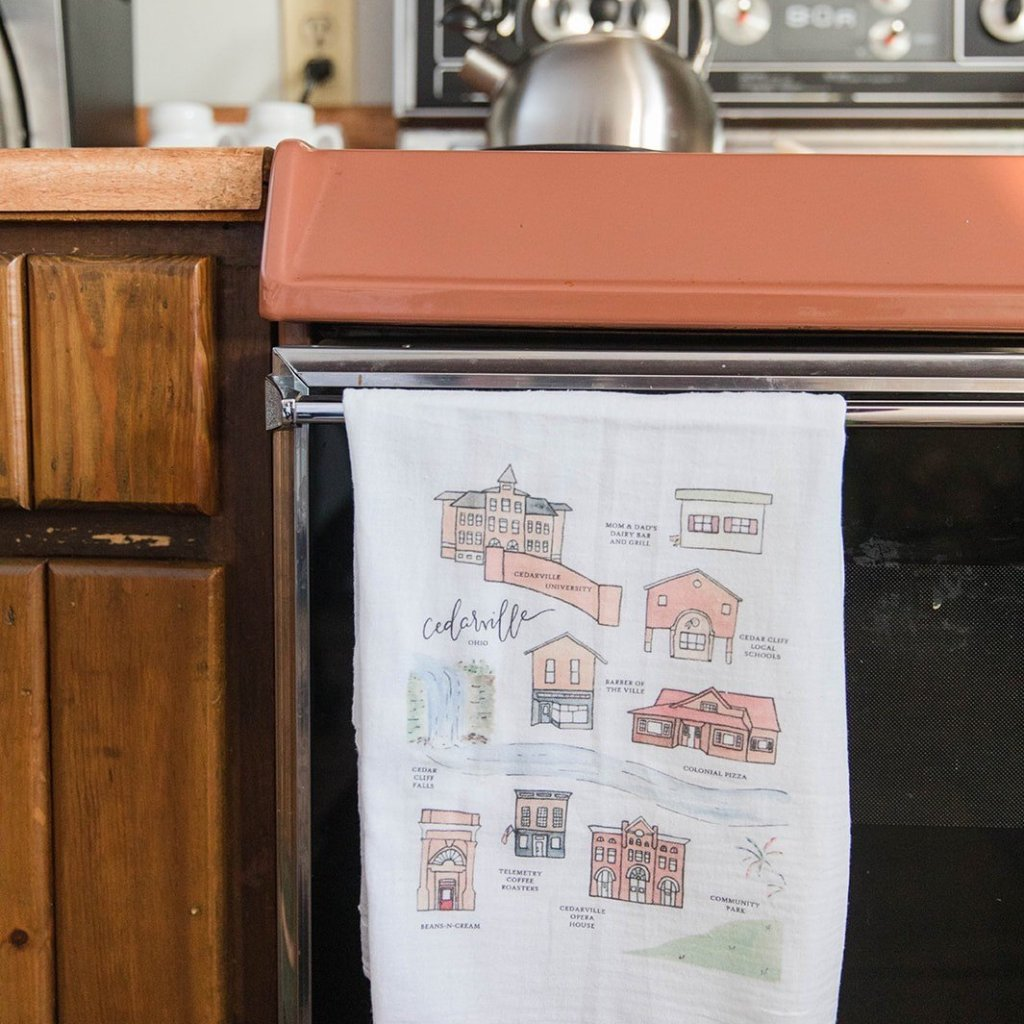 CEDARVILLE OHIO || Handpainted Watercolor Map | Floursack Tea Towel