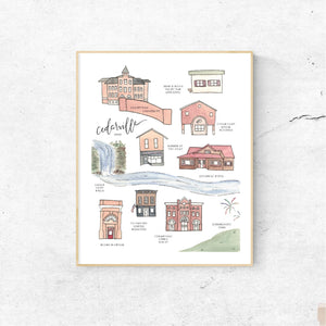 CEDARVILLE OHIO || Handpainted Watercolor Map Print