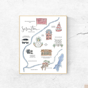 SCRANTON, PENNSYLVANIA || Handpainted Watercolor Map Print