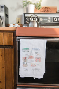 MONTROSE PENNSYLVANIA || Handpainted Watercolor Map | Floursack Tea Towel