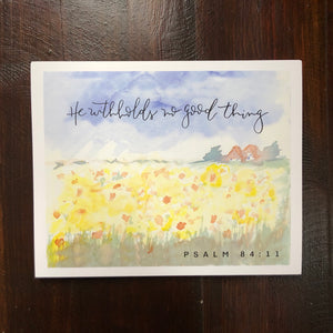 MISPRINT WATERCOLOR || Sunflower Field Psalm 84:11 He Withholds No Good Thing