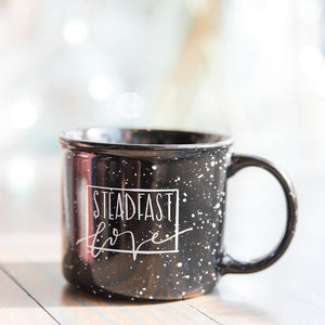 BLEMISHED || Steadfast Love Black Campfire Speckled Mug
