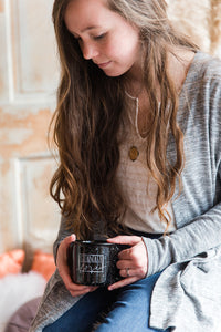 STEADFAST LOVE MUG || Black Campfire Speckled Mug