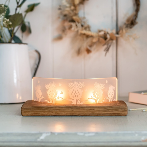 Frosted Glass Scottish Thistle Tea-Light Candle Holder