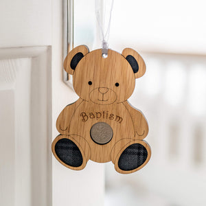 Wooden Hanging Teddy Bear with the word Baptism written across his chest. He has tartan ears and feet.