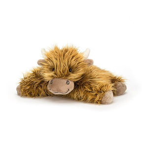 Jellycat truffles highland cow lying down