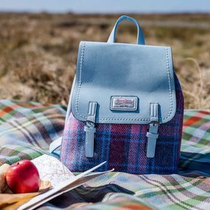 The Jura Harris Tweed Backpack (Pink & Blue Tartan) Snowpaw Contempo