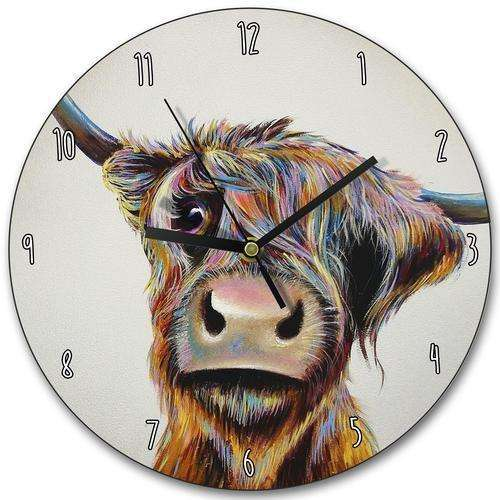 A Bad Hair Day Highland Cow Wall Clock