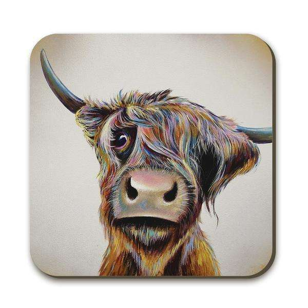 A Bad Hair Day Highland Cow Coaster