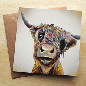 A Bad Hair Day Highland Cow Blank Greetings Card Greetings Cards Wraptious Contempo