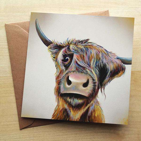 A Bad Hair Day Highland Cow Blank Greetings Card